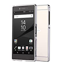 Sony Xperia Z5 Premium Case, Popsky [Metal Frame] [4 Colors] Mirror Back Premium Aluminum Bumper Case Cover with Push-Pull Frame for 5.5 Inch Sony Xperia Z5 Premium Phone (Silver)