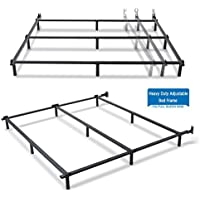 9 Legs Heavy Duty Adjustable Steel Bed Frame for Box Spring and Mattress Set- Fit for Full Queen King