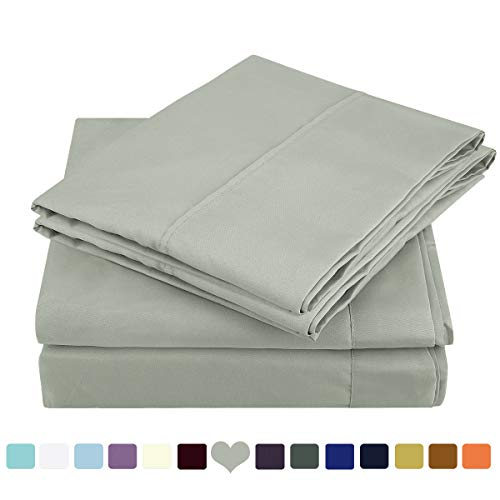 HOMEIDEAS Bed Sheets Set Brushed Microfiber 1800 Bedding Sheets - Hypoallergenic, Wrinkle & Fade Resistant 4 Piece(Queen,Gray)