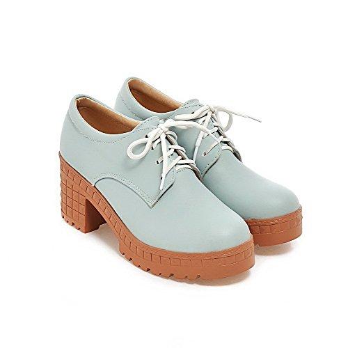 Delle Donne Blu Pompe Rotonda Molli talloni calzature Weipoot Solido Punta Chiusa Materiale Lacci nfXxqvI7v