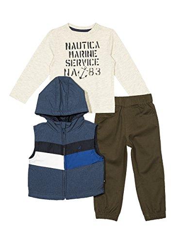Sport Puffer Vest (Nautica Baby Boys' Puffer Vest, Tee and Jogger Three Piece Set, Dark Blue, 24 Months)