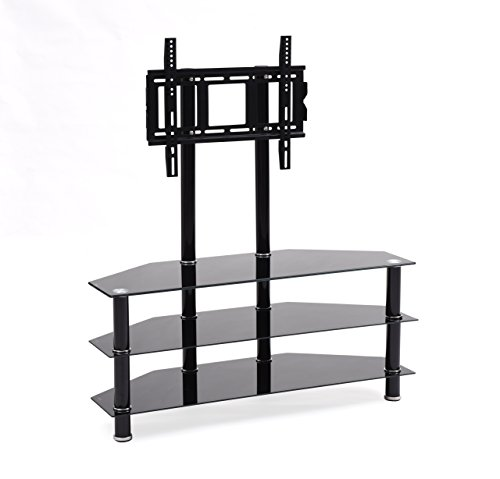 Hodedah TV Stand with Mount & Three Tempered Glass Shelves,