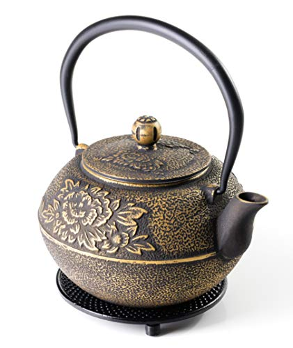 SunsetCo - Cast Iron Teapot with Trivet Set - Traditional Japanese Tetsubin Style - Stainless Steel Infuser - Large 40oz/1.2ltr - Gold Decorative Flower Design - Steep Your Favourite Loose-Leaf Tea