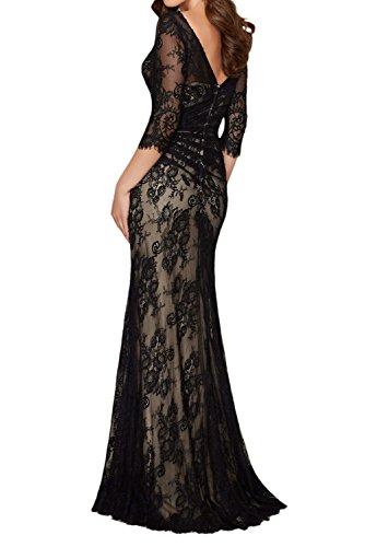Figurbetont Festlichkleider Ballkleider La mia Langarm Dunkel Abendkleider Braut Brautmutterkleider mit Spitze Fuchsia Royal Blau g8gTA