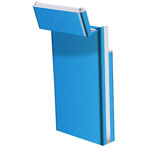 Zigarettenetui Zigarettenbox Superslime Zigarettendose 1.6cm aus Aluminiumlegierung für 20 Zigaretten Zigarettenschachtel Grau von QIMAOO Blau