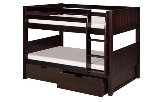 Camaflexi Panel Style Solid Wood Low Bunk Bed with Drawers, Twin-Over-Twin, Side Attached Ladder, Cappuccino