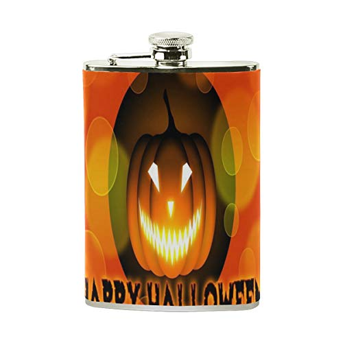 Stainless Steel Flask 18/8 with Leather Wrapped Cover Halloween Pumpkin Nice Wallpaper Winter Pocket Hip Flask 8 Oz Gift for Men-Flask Funnel