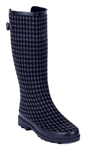 Boots Coated Young Black Rain Rubber Women Houndstooth Forever Couture xqYvwpttU