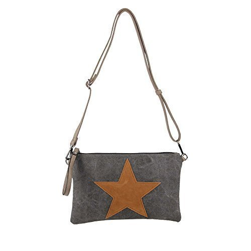 Estrella Bolsa De La Lona Bolsa Bandolera De Dama Bolsa De Joyas Embrague Bolsa De Tela Cuero Estrella - Gris topo 2xFach (Strass Estrella) gris oscuro