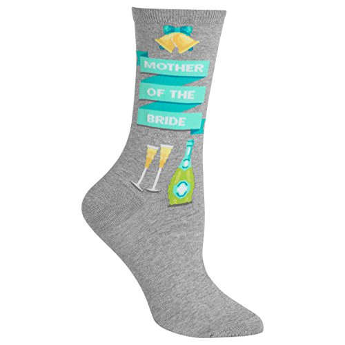 Hot Sox Women's Wedding Bliss Novelty Casual Crew, Mother Of The Bride (Grey Heather), Shoe Size: 4-10 (Sock Size: 9-11) (Bride Imported)