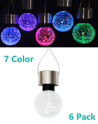 Kimi House 6 Pack Hanging Solar Powered LED Lights with 7 Color Auto-Changing, Cracked Glass Ball Lights, Waterproof Outdoor Decorative Lanterns for Garden, Patio, Yard and Lawn