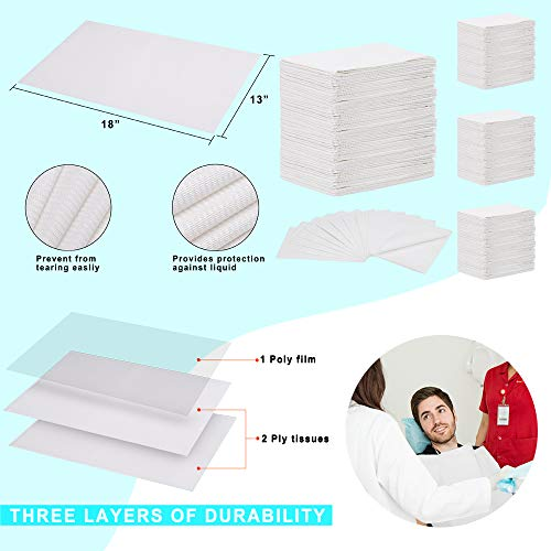 (Pack of 500) Dental Bib 13'' X 18'' 3-Ply White Premium Disposable Waterproof Patient Bibs /2 Ply Tissue + 1 Ply Poly/Polyback Sheet; Waterproof Tattoo Bibs, Tattoo Tray Covers and Dental Napkins by JJ CARE (Image #5)