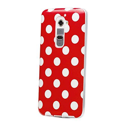 LG G2   iCues lunares TPU negro / color   Señoras de las mujeres de las muchachas de gel de silicona adorno del modelo de piel protectora de protección [protector de pantalla, incluyendo] Cubierta Cub Rojo