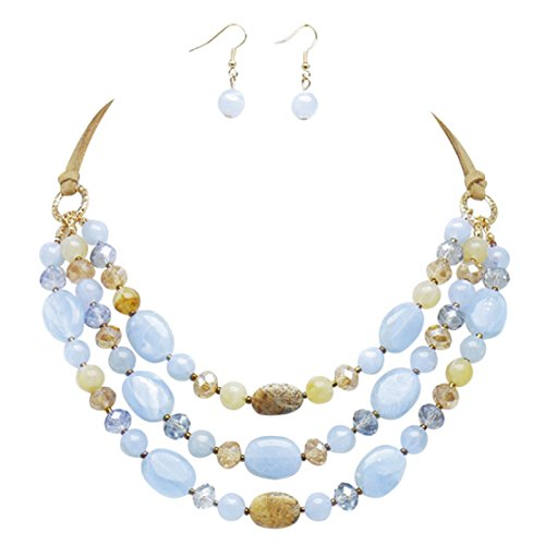 70's Dance Recital Costumes (Rosemarie Collections Women's Triple Strand Natural Stone Statement Necklace Earrings Set (Blue))