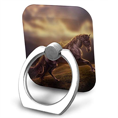 Square Finger Ring Stand 360°Rotation Phone Holder Grip Horse Cloud Grass Kickstand for Smartphones and Ipad