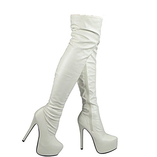 Damen Oberschenkel hoch Party Stilett Hacke Plattform Über das Knie Stiefel Größe 36-41 Weiß Pu