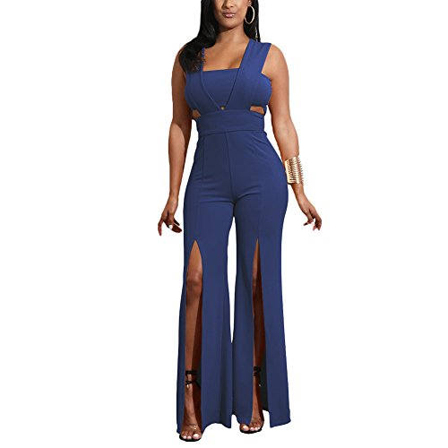 Crop Pants Suit (Aro Lora Women's Sexy Outfit Sleeveless Strapless Crop Top + Slit Long Wide Leg Pant Jumpsuit Romper Medium Navy)