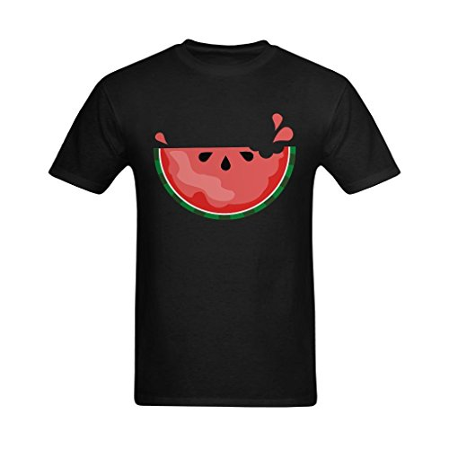 Fashion-In Men's Juicy Watermelon Clipart Art Design T-Shirt - Nerdy T Shirt US Size L]()