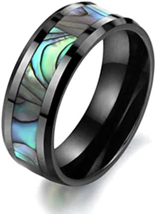 Siarola 8mm Tungsten Abalone Stripe Shell Inlay Ceramic Mens Band Rings R232