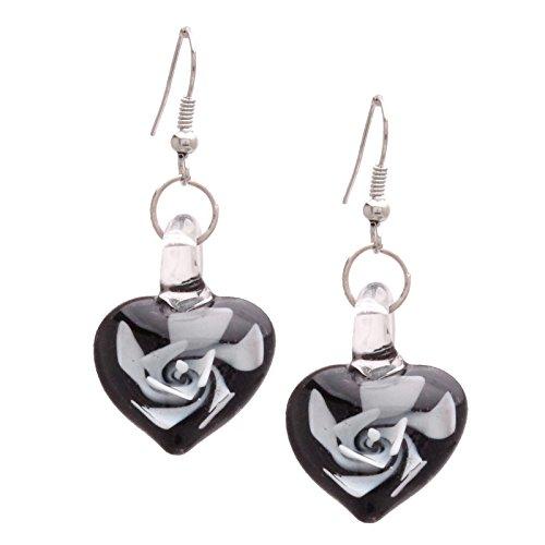 Bleek2Sheek Murano-inspired Heart Shaped Glass White and Black Swirl Flower Heart Earrings - (Swirl French Hook Earrings)