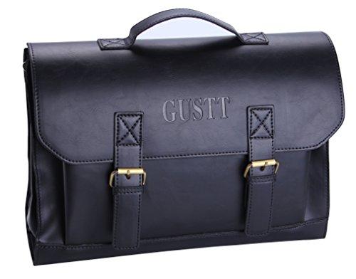 GUSTT Men's Laptop Messenger Bags Classic Vintage PU Leather Handmade Crossbody Briefcase Business Sling Shoulder Bag (GB1-Black)