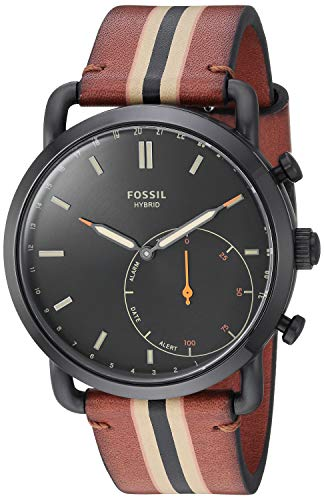Fossil Men's Stainless Steel Hybrid Watch with Leather Strap, Brown, 22 (Model: FTW1183)