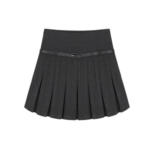 Women Winter Fashion Pleated Skirt With Belt Good Quality (S, Grey) by ITOPAI