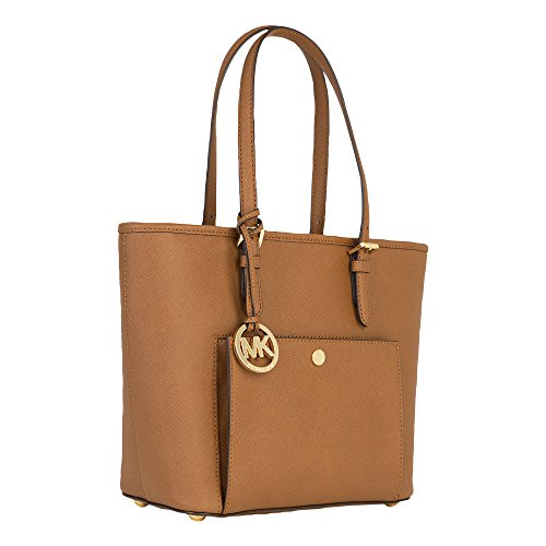 da14c3655b6d MICHAEL Michael Kors Jet Set Medium Top Zip Snap Pocket Tote (Luggage)