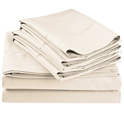 (600 Thread Count Rich Hem Stitch Sheet Set with Bonus Pillowcases, Olympic Queen, Ivory)