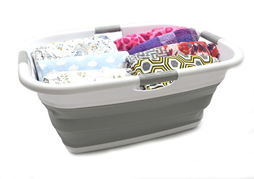 SAMMART Collapsible Rectangular Laundry Basket - Foldable Storage Container/Organizer - Portable Washing Bin - Space Saving Hamper - Car Trunk Storage Box/Pet Bath Tub (Grey)