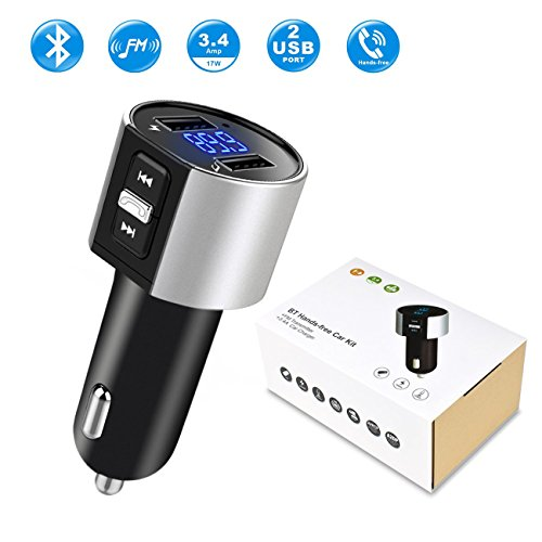 Car charger, Bluetooth FM Transmitter, Y&R Direct Wireless Bluetooth FM Radio Adapter Car Kit with Hands-Free Calling, 2 Ports USB Charger 5V/2.4A&1A, Apply for iPhone,Samsung,Android - Hands Free Car Charger