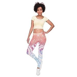 Lookatool Women Leggings Print Fitness Legging High Leggins Trouser Pants (S, Orange)