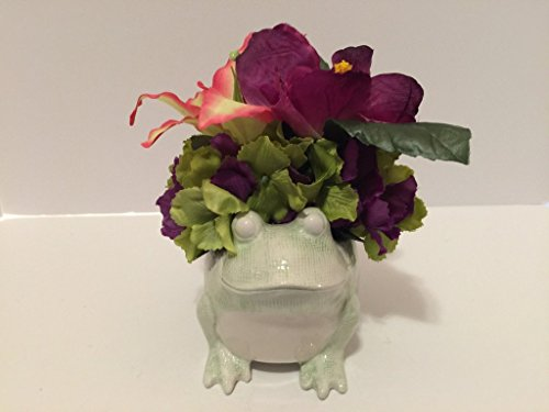 ANIMAL FUN - CERAMIC FROG VASE - GREEN/PURPLE HYDRANGEA, PURPLE HIBISCUS, AND PINK.GREEN LILLY by Peters Partners Design