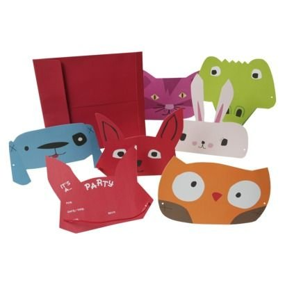 ZOOMERANG! by Mara Mi ANIMAL MASK Wearable Party INVITATIONS + Envelopes (12 Count)