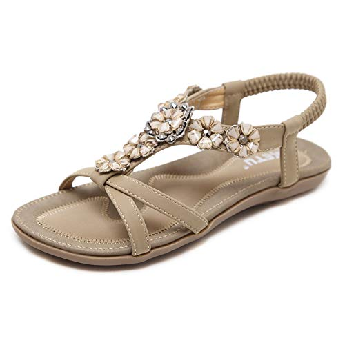 Fnnetiana Women's Bohemian Beaded Flat Sandals ComfortableGladiator PlatformSummer Beach Shoes(6 B(M) US,Beige)