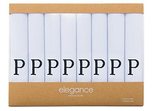 Retreez 8 Piece Pure Cotton Initial Monogrammed Men's Handkerchiefs Hanky Gift Box Set, Christmas gift - Set P Initial
