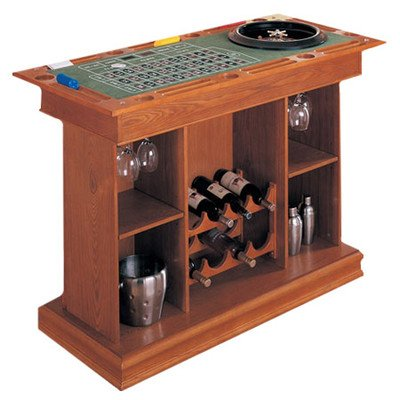 Coaster All In One Game Table/Bar Unit With Wine Shelves Includes,  Roulette, Blackjack And Craps