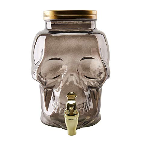 3-Liter Glass Beverage Dispenser - Skull Shaped 0.78-Gallon Mason Jar Drink Container with Lid and Plastic Spigot, Halloween, Spooky Themed Party Supply, Juice Bar, Gray, 7.3 x 6.1 x 9.2 Inches]()