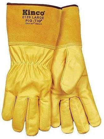 Kinco 0129-l Hombres del grano piel de cerdo Tig soldadura guantes, grande, Golden: Amazon.es: Amazon.es