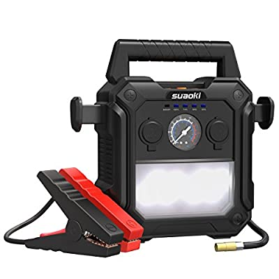 SUAOKI U29 4-In-1 Jump Starter 2000 Peak Amps (Up to 10.0L Gas or 8.0L Diesel Engines) with 150 PSI Air Compressor and Power Pack with 2 USB Ports & 1 Cigarette Lighter Receptacle for 12V Car Boat