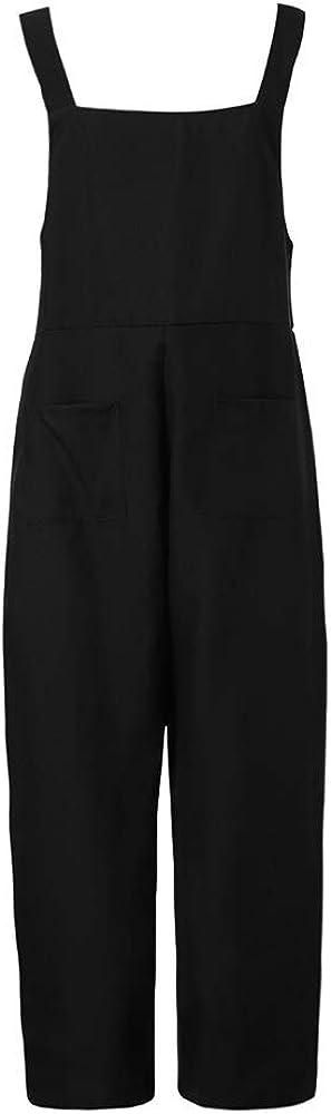 SUMTTER/_Donna Salopette Lino Jumpsuit Estate e Autunno Lunga Tuta Eleganti Senza Maniche Overall Casual Pantaloni Larghi
