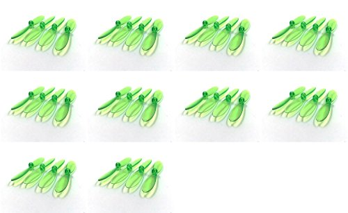 10 x Quantity of Revell QG 550 Mini Quadrocopter Transparent Clear Green Propeller Blades Props Rotor Set 55mm Factory Units