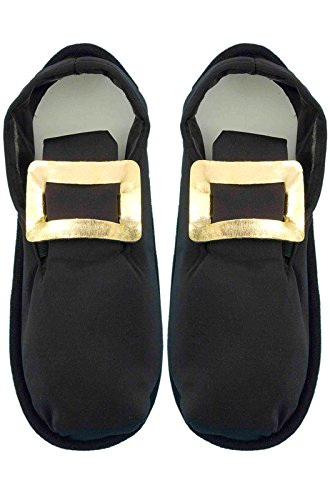 Shoes For Costumes (Forum Men's Pilgrim Costume Shoe Cover, Black, One Size)