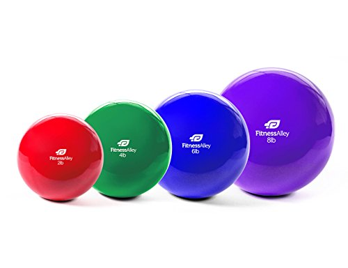 - Fitness Alley The Weighted Pilates Balls/Fitness Toning Balls/Medicine Ball PVC Coated - 4 Balls Set (2, 4, 6, 8 lbs) - 1 per Weight/not Pair