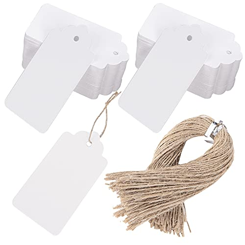 SallyFashion Kraft Paper Tags, 100 PCS White Gift Tags 2X4 Inches Craft Hang Tags with Free 100 Root Natural Jute Twine for Gifts Arts and Crafts Wedding Holiday