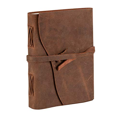 Tuk Tuk Press, Handmade Buffalo Leather Blank Journal, Light Tan Antique Finish, 200 Thick Unlined Cotton Pages, 8 Inches x 6 Inches