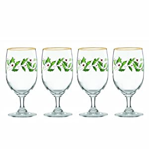 Amazon.com: Lenox Holiday Iced Beverage Glasses, Set of 4, Ivory ...