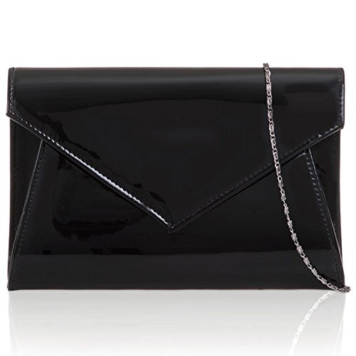 Leather Patent Medium Clutch Evening Gloss Ladies Black Women Prom Party Xardi Bags London Envelope SxTIwqRTX
