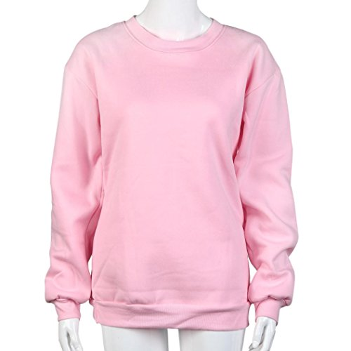 HARRYSTORE Mujeres BE FRI / ST END Camiseta de manga larga de manga larga con capucha Top Blusa Sisters Shirt Rosado-2