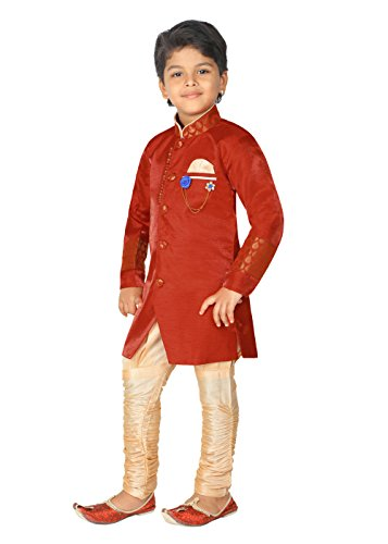 Ahhaaaa Special Traditional Collection Kid's Ethnic Indian Sherwani and Breeches Set for Boys Silk Cotton, Hand work embroidery (5)